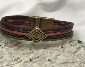 Womens multi-strand leather bracelet
