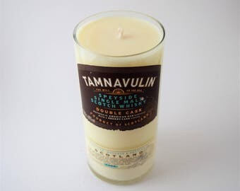 Tamnavulin Whiskey Candle - Musk & Sandalwood - 100% Soy Wax - Upcycled Bottle - Man Cave Gift