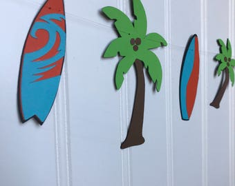 Surfer Party Garland/Tropical Surfing Garland/ Palm tree Garland/ Surfboard Garland/ Surfing Party Decorations/ Beach Party Decorations