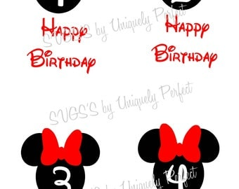Minnie Mouse birthday 1st 2nd 3rd 4th cutting file svg png