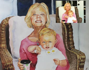 Personalized gift for mother Baby Portrait Custom painting painted realism family portrait painting from photos custom wedding portrait