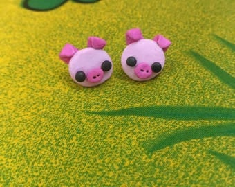 Small pig earrings piggy earrings pig jewellery pig farm pig studs piggy handmade pig stud earrings