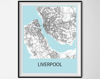 Liverpool Map Poster Print - Black and White