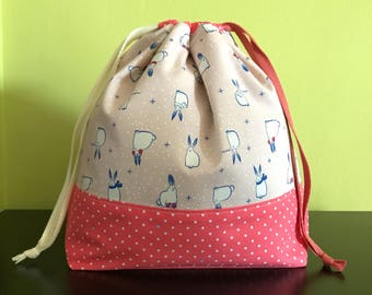 "Handmade drawstring bag / pouch for knitting crochet project 10.5"" x 8"" x 3.5""  *Noel Rabbits 3*"