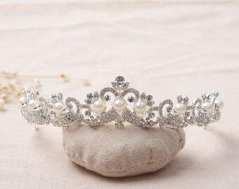 Pearl and crystal bridal tiara