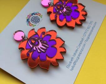 Red earrings, purple earrings, pink earrings, drop earrings, statement earrings