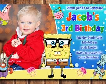 Spongebob Invitation, Spongebob Birthday Invitation, Spongebob, Spongebob Printable, Spongebob Card, Spongebob Invite-digital file b