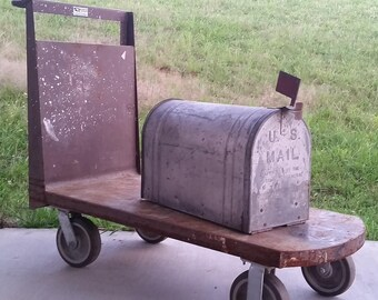 Reserved for Lori -  1940s Vintage RUSTIC FARMHOUSE MAILBOX - Old School  Galvanized Steel - Large and Heavy - Farm House - U. S. Mail Box