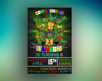 Ninja Turtle Invitation, Ninja Turtle Birthday Invitation, Ninja Turtle Birthday Party, Ninja Turtle Birthday Party Invitation, Ninja Party