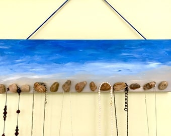 Necklace hanger holder organizer rack display stand hooks bracelets jewelry  Ocean sea sky sand pebbles. Boho, coastal, bohemian beach decor