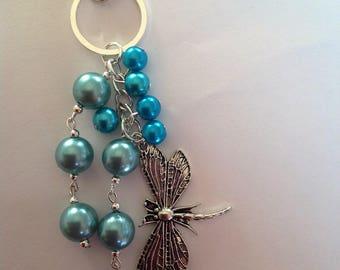 Turquoise beaded Dragonfly key ring beaded key ring key chain key fob bag charm handbag charm