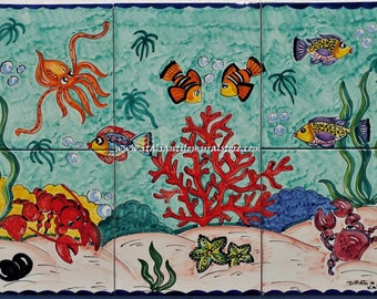 Handmade and hand painted aquarium tiles and depicts a beautiful boldly colored undersea scene of tropical fish. Custom for You!!