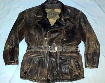 1940 INDIAN - Vintage Distressed Motorcycle Biker Real Leather jacket, size 48