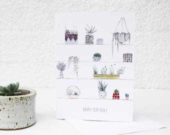 Birthday Card, Botanical Card, Plant Card, Handmade Card, Hand painted Card, Card for Her, Potted Plant Card