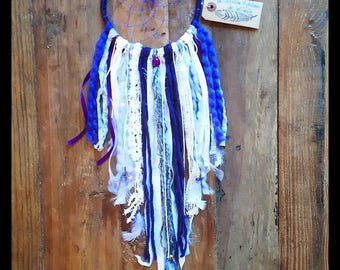 Purple and silver key Dreamcatcher with white and the stars
