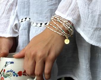 Opal Gemstone Bracelet//Personalized Jewelry//Beaded Wrap//Beaded Bracelet//Hand Stamped//Boho Wrap Bracelet//Handmade Jewelry//Gift For Her