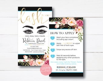 Stripe |Floral|Lash Boost Card  |RF Lash Boost | Rodan and Fields Lash Boost | Lash Boost Instructions|Rodan and Fields|Rodan Fields