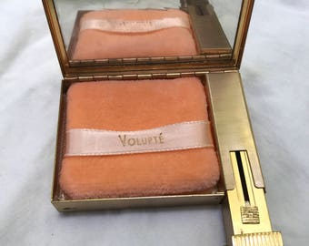 Vintage Gold Tone Volupte Never Been Used Makeup Compact & Lipstick Case