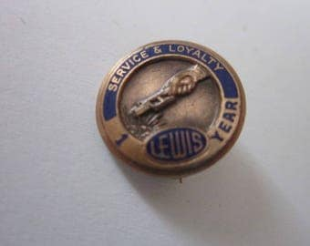 Antique Enameled Lewis Co 1 Year Service & Loyalty Pin