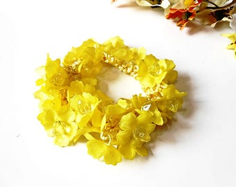 Hair Scrunchie Yellow Cotton Crochet Flower  Elastic Wrap Hair Ties Ponytail Holder Floral Blossom Embroidery Glass Pearl Women Girl