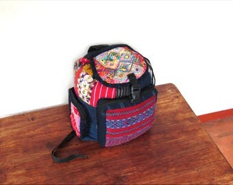 red guatemalan backpack/ ethnic/ boho chic backpack