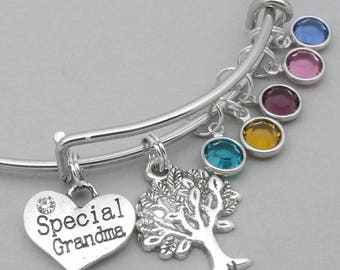 Special Grandma family bracelet | family tree bracelet | mother's bracelet | family tree jewellery | gift for grandma | grandmother