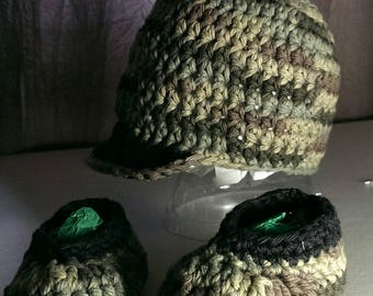 Crocheted Boys Cap and Bootie Set