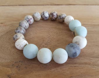 Amazonite and fossil jasper diffuser bracelet