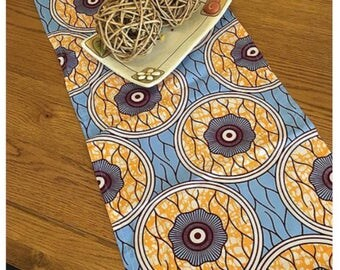 Table runner, 127x34, light blue, orange and white, printed cotton, handcrafted, ethnic