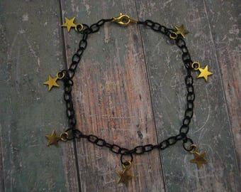 Black Chain Bracelet with Gold Stars