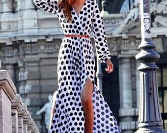 Airy Dress, Summer Dress, Polka Dot Dress, Markiiza, Black White Dress, Party Dress, V-neck Dress, Cotton Dress, Maxi Dress, Everyday wear