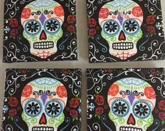 4pc Sugar Skull Tile Coaster Set