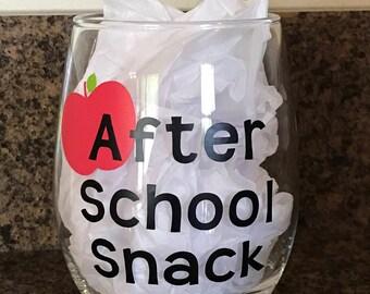 After School Snack, Teacher Wine Glass, Stemless Wineglass, Teacher Appreciation Gift, End of School Year, Personalized Teacher Gift