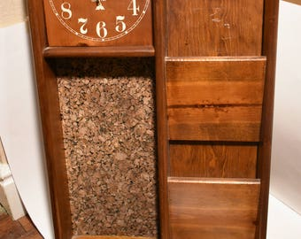 Vintage wall hanging wood mail organizer with cork board and quartz clock
