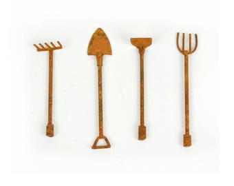 Dollhouse Miniature Fairy Garden Rusty Tools Set of 4