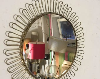 Wall mirror brass 50 he wall mirrow sunburst brass 50's