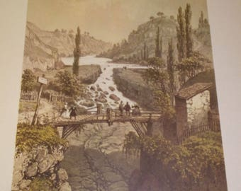 """Lithograph """"The loss of the Rhone"""" Nice collection and Savoy"""