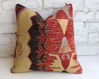 "Kilim Pillow,Throw Pillow, Vintage Pillow,Turkish Pillow,Cushion Cover,16""x16""inches,40x40 cm"