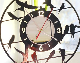 "Wall clock ""Swallow"" made from vinyl records"