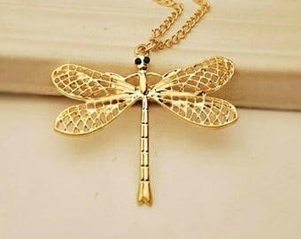 Gold Dragonfly Necklace,Gold Dragonfly Jewelry,Dragonfly Necklace Pendant,Dragonfly Jewelry