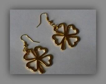 Four Leaf Clover Earrings,Gold 4 Leaf Clover Dangle Earrings,Shamrock Earrings,Gold Shamrock Earrings,Lucky Clover Earrings