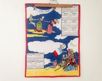 Tea towel/calendar - anniversary of the bicentennial of the French revolution - 1789/1989