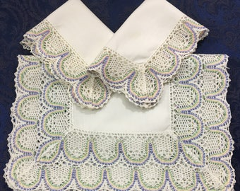 Matching Set of 3 Linen Table Runner Dresser Scarf Doilies with Pastel Crochet Lace Trim R42