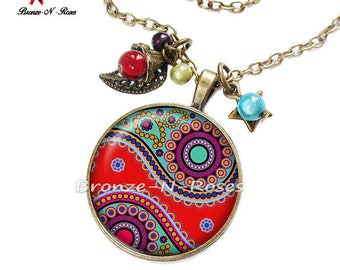 Necklace * Indian paisley * bronze red glass cabochon