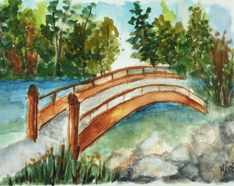 Watercolor greeting card/bridge/Landscape greeting card/ Watercolor Card/5 x 7 greeting card/Card and envelope/Bridge at the park