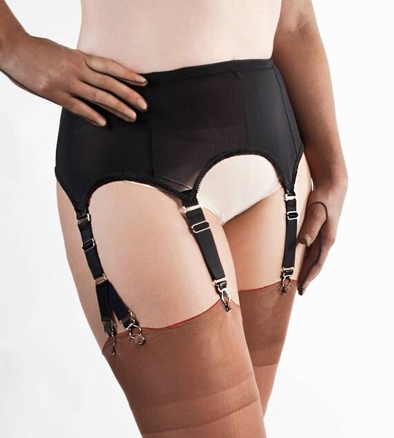 Belt fetish nylon stocking suspender