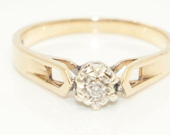 Vintage 1981 9Ct Yellow Gold Solitaire Diamond Engagement Ring, Size Q