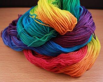 Bright Rainbow Hand Dyed Yarn