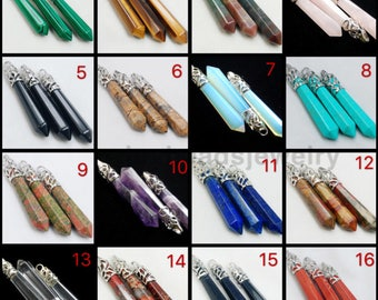 Hexagon Natural Quartz Crystal Stone Point Chakra Healing Gemstone Pendants Necklace For Jewelry Making  Necklace DIY Jewelry Finding