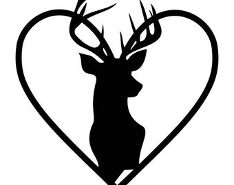 Stag Head Heart Deer Graphics SVG Dxf EPS Png Cdr Ai Pdf Vector Art Clipart instant download Digital Cut Print File Cricut Silhouette